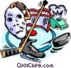 Vector Clip Art image  of a Hockey, goalie mask, stick, whistle