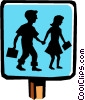 school crossing sign Vector Clipart graphic