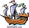 Old fashioned sailing ship Vector Clipart illustration
