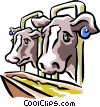 Vector Clip Art graphic  of a cows at the trough