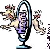 show dog jumping through hoop Vector Clipart illustration