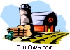 farm landscape Vector Clipart illustration