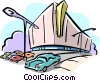 Vector Clipart picture  of a shopping center and parking