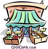 Vector Clip Art graphic  of a fruit stand