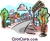 Vector Clip Art graphic  of a cityscape - street