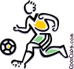 Vector Clip Art image  of a Soccer player dribbling ball