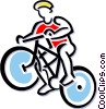 Person on bicycle Vector Clipart graphic