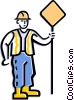 Vector Clipart image  of a worker holding sign