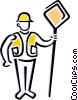 Worker holding road sign Vector Clipart picture