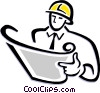 Vector Clipart graphic  of a contractor reading plans