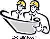 Contractors reading plans Vector Clipart illustration