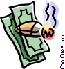 money high-roller's cigar with a wad of cash Vector Clip Art picture