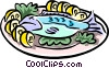 Vector Clipart picture  of a baked fish with lemons