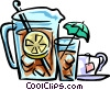 ice tea with glasses Vector Clip Art image