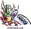 wine bottle and checkered table cloth Vector Clipart picture
