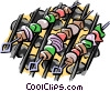 Vector Clip Art picture  of a Shish kabobs on the grill