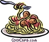 Vector Clipart graphic  of a Spaghetti & meatballs