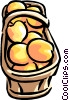 basket of peaches Vector Clipart image