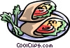 pita pocket sandwiches with tomato and lettuce Vector Clipart illustration