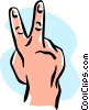 Vector Clipart graphic  of a hand/peace sign/two