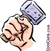 Hand with mallet Vector Clipart picture