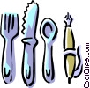 eating utensils with pen Vector Clipart image