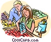 Vector Clip Art image  of a Couple grocery shopping