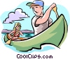 Vector Clip Art graphic  of a canoeing