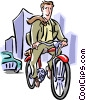 Businessman peddling to work Vector Clipart picture