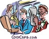 Subway passengers reading newspaper Vector Clip Art image
