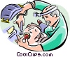 Vector Clip Art graphic  of a Dentist working on patient