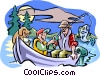 Vector Clipart illustration  of a Father and son fishing with