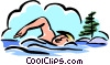 swimming in lake Vector Clipart image