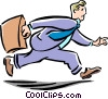man running to work Vector Clipart graphic