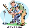 Vector Clip Art graphic  of a Baseball/family activity