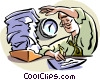 working overtime Vector Clipart illustration