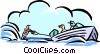 Vector Clip Art image  of a water-skiing