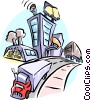 Vector Clipart illustration  of a transport truck/buildings