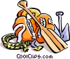 Vector Clipart image  of a canoeing/paddles/lifejacket