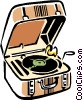 Vector Clip Art graphic  of a record player/phonograph