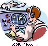 Vector Clipart image  of an air traffic controller