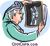 analyzing x-ray Vector Clip Art picture