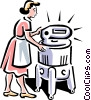 Vector Clip Art image  of a old-fashioned washing machine
