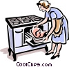 Vector Clip Art picture  of a old-fashioned cooking turkey