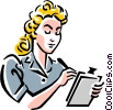 Vector Clipart graphic  of a old-fashioned secretary