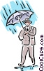 Man in rain Vector Clip Art graphic
