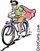 Vector Clip Art graphic  of a old-fashioned masked bike