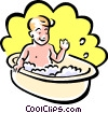 Vector Clip Art picture  of a boy in bath