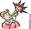 trumpet player Vector Clip Art graphic