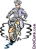 Vector Clipart picture  of a police on motorcycle